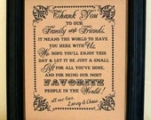 8x10 PERSONALIZED Thank You- Wedding Sign/ Wedding Print - Single Sheet (Style: PERS TY 1)