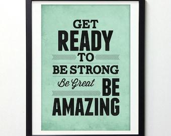 Be Strong, Retro Wall Art, Motivational Art, Teal Wall Art, Motivational Print, College Student Gift, Dorm Art, Positive Wall Art