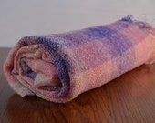Vintage Shabby Chic Hudsons Bay Company Mohair Wool Throw Blanket Pink Mauve Purple