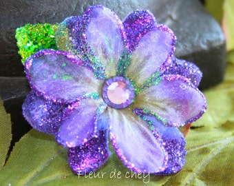 Glitter-Edged Purple Blossom Flower with Crystal Center and Green Leaf on Alligator Hair Clip- Handmade Floral Headpiece