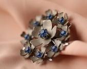 ON SALE Sensuous Blue-Studded Cut Steel Floral Brooch