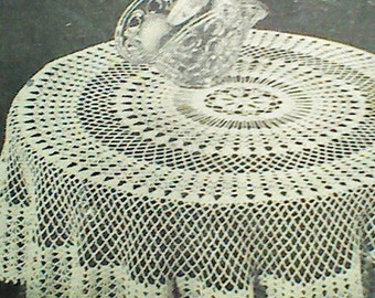 Vintage Crocheted Round Tablecloth Pattern