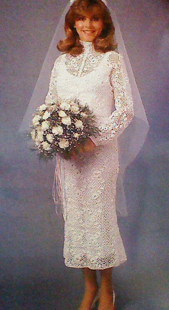 Vintage crochet irish lace wedding gown pattern by for Crochet lace wedding dress pattern