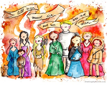 Ladies of Game of Thrones 8.5x11 inch Print, fan art. Watercolor painting.  Khaleesi Daenerys Targaryen