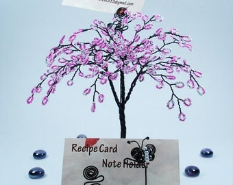 Sakura Wire Sculpture Tree - Desktop Business Card Holder-Made to order