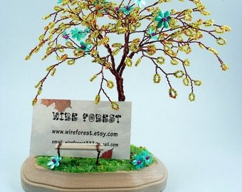 Summer Wire Sculpture Tree  - Home Decoration / Desktop Business Card Holder - Made to Order