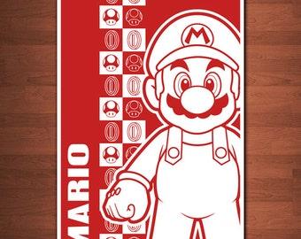 """Super Mario Bros (Mario) Print - 11"""" x 17"""""""