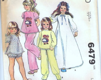 Vintage McCalls 6479 Uncut Pattern Nightgown and PJs with Raggedy Ann Andy