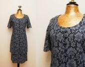 Vintage 1960s Blue Lace Shift Dress  / 60s Short Sleeve Jackie O Style Cocktail Dress / Large