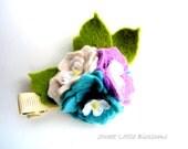 Frühling Wolle Filz Haarspange - Pastell-Hortensie Blumen Frühling Ostern Hair Clip