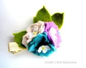 Spring Wool Felt Hairclip - Pastel Hydrangea flowers Spring Easter Hair Clip