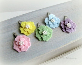 Baby Felt Hair Clips - Pastel Rainbow Easter and Spring Blossom Snap Clips - Girl Baby Infant Accessory