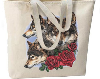 Natures Wolves and Roses New Oversize Tote Bag, Very Nice Unique, All Purpose