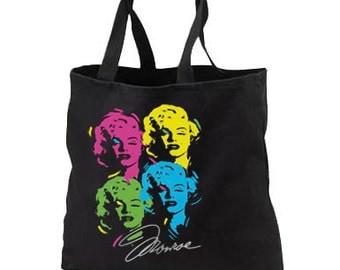 Artsy Marilyn Monroe Neon New Black Tote Bag