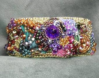 Bead Embroidery Cuff Bracelet -Summer's Garden - Rivolis, Silk, Gold-Filled Clasp