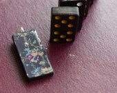 Domino Pendant - Vintage - Retro - Game Piece Necklace - Upcycled  - Altered Jewelry Assemblage - Eco Friendly - Wearable Art