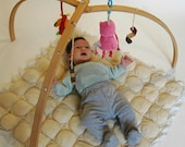 Wooden baby gym for hanging baby mobiles
