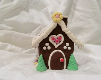 Hand Sculpted Polymer Clay Gingerbread House