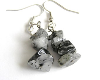Tourmalinated Quartz Bead Earrings w Surgical Steel Hooks