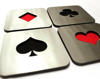 Metal Card Suit Coasters, Poker, Steel, Heart, Spade, Club, Diamond, Metal, Red, Black