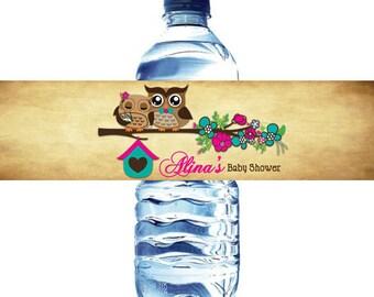 Owls Baby Shower Water Bottle Label Digital File  - Owls Spring Baby Shower water bottle label DIY - Owls water bottle label