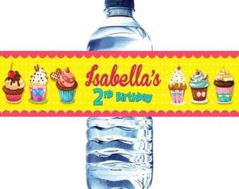 Cupcakes Water Bottle Label - Cupcakes Party water bottle label- Water label Cupcakes Birthday Party