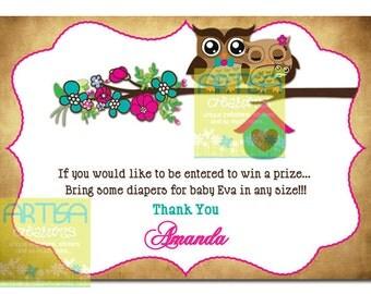 Owls Diaper Raffle - Owls Diaper Raffle - Pink and Teal Owls Diaper Raffle - Owls Baby Shower Raffle Card