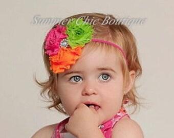 Baby Headband, Infant Headband, Newborn Headband - Shabby Chic Headband Triple Rosettes Pink Green and Orange on skinny elastic