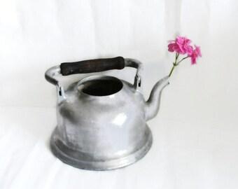 Cast aluminum rustic sturdy KETTLE WOODEN handle, vintage teapot. Porch watering can, Kitchen stove top pot, farmhouse cottage patio decor