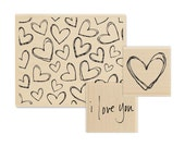 25% OFF - Love & Hearts Stamp Set - 3 Rubber Stamps