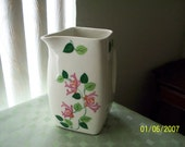 "Avco China Pitcher White with Pink Floral Pattern 8"" Tall Diamond Shape 1930's Art Deco"