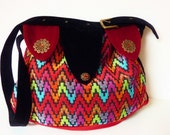 "Colorful Boho Art Deco Design Bag Purse ""Madame Tuschinski"" Art Noveau Medieval Ethnic Velvet Multicolor Patchwork 70s Vintage Flower Power"