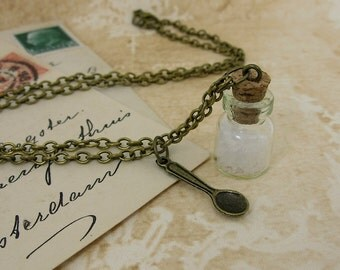 Mary Poppins - spoonful of sugar necklace - antique bronze chain, glass vial, spoon charm