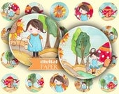 MATILDA and sunflower - circles image - digital collage sheet - 1 x 1 inch - Printable Download
