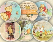 Winnie The Pooh - illustration - 2.5 inch circles - set of 12 - pocket mirrors, tags, scrapbooking, cupcake toppers