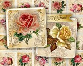 Romantic Roses - squares image - digital collage sheet - 1 x 1 and 1.5 x 1.5 inch - Printable Download