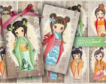Yumiko - kokeshi doll - digital collage sheet - set of 10 - Printable Download