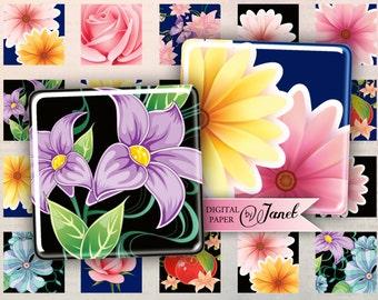 Flower POP - squares image - digital collage sheet - 1 x 1 inch - Printable Download