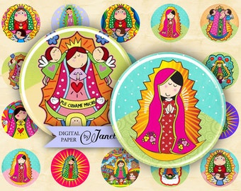 Virgencita - circles image - digital collage sheet - 1 x 1 inch - Printable Download
