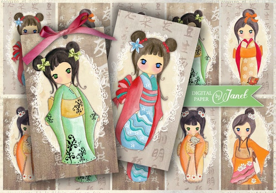 Yumiko - kokeshi doll - digital collage sheet - set of 10 - Printable Download