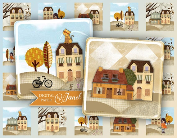 Home Sweet Home - squares image - digital collage sheet - 1 x 1 inch - Printable Download