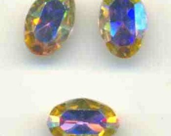 Swarovski crystal AB oval rhinestones with faceted tops and pointed gold foiled backs Qty 1 ref 020541aj