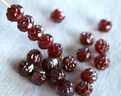 Red Luster Rosebud Faceted Beads