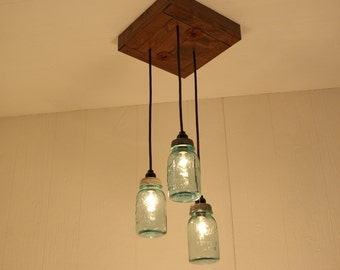 Mason Jar Chandelier - Antique Blue Mason Jars - Mason Jar Lighting - Refined Alder Wood