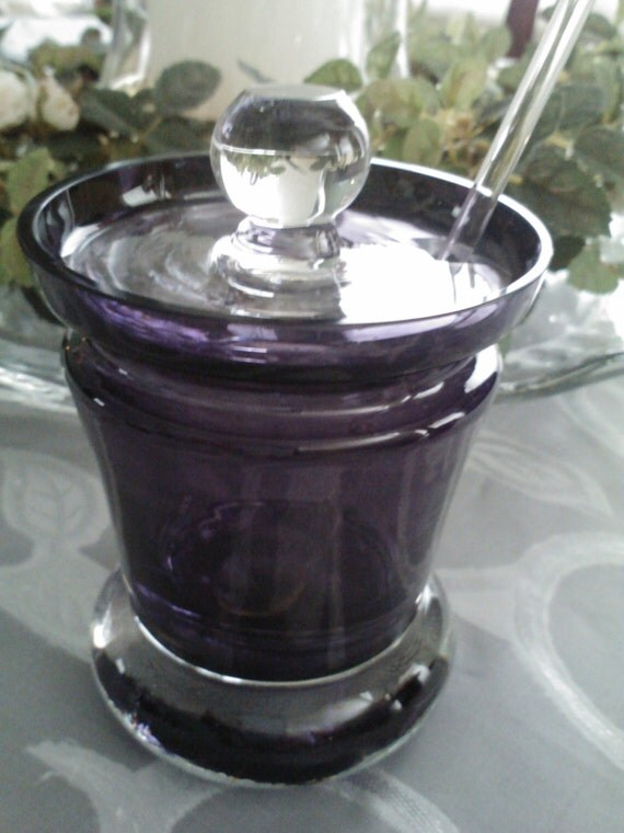 Amethyst Glass Jam- Condiment- Honey Jar/ Vintage Tableware