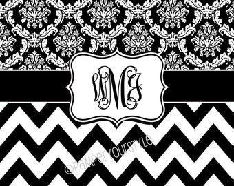 black and white chevron and damask shower curtain custom monogrammed curtain name