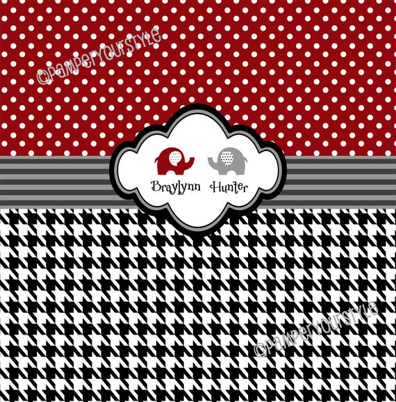 Shower Curtain - Personalized Houndstooth and Damask Shower Curtain ...