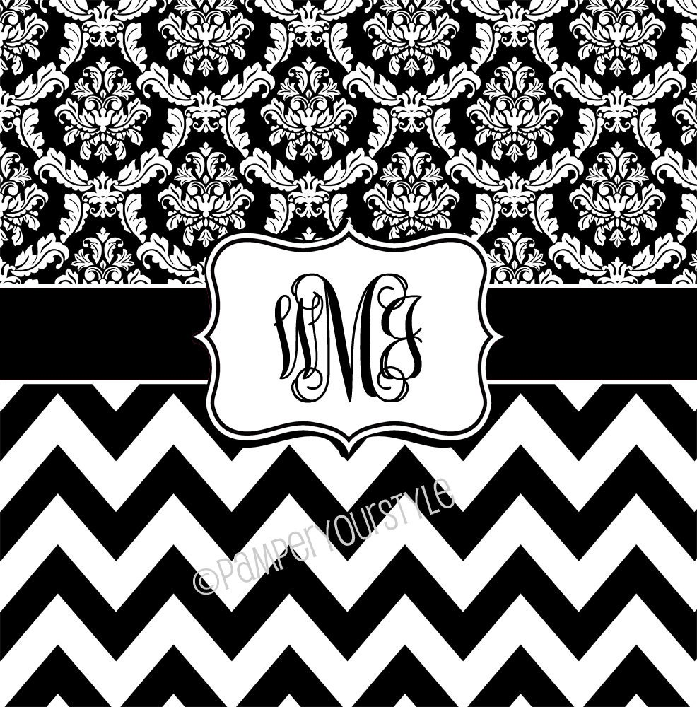 Black And White Chevron And Damask Personalized Shower
