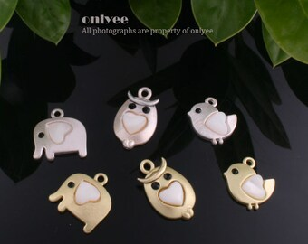 2pcs-Matte Gold, Rhodium plated Bress Cute Charms With Shell Heart and Cubic Eyes Elephant,Bird,Owl(K395)
