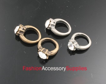 4pcs-14mm Antiqued Bronze,Silver Zinc alloy Ring With cubic charms,Pendants(A132-B)